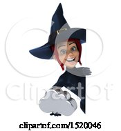 Clipart Of A 3d Sexy Blue Witch Holding A Cloud On A White Background Royalty Free Illustration