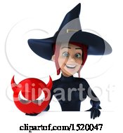 Clipart Of A 3d Sexy Blue Witch Holding A Devil On A White Background Royalty Free Illustration