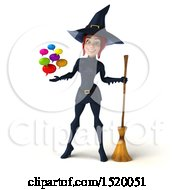 Clipart Of A 3d Sexy Blue Witch Holding Messages On A White Background Royalty Free Illustration