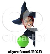 Clipart Of A 3d Sexy Blue Witch Holding An Apple On A White Background Royalty Free Illustration