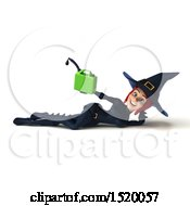 Clipart Of A 3d Sexy Blue Witch Holding A Gas Can On A White Background Royalty Free Illustration by Julos