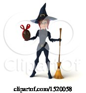 Clipart Of A 3d Sexy Blue Witch Holding A Chocolate Egg On A White Background Royalty Free Illustration by Julos