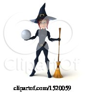 Clipart Of A 3d Sexy Blue Witch Holding A Golf Ball On A White Background Royalty Free Illustration by Julos