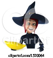 Clipart Of A 3d Sexy Blue Witch Holding A Banana On A White Background Royalty Free Illustration by Julos