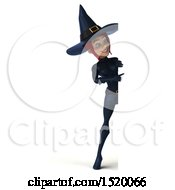 Clipart Of A 3d Sexy Blue Witch Pointing Around A Sign On A White Background Royalty Free Illustration by Julos