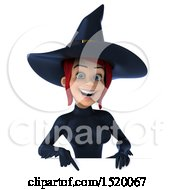 Clipart Of A 3d Sexy Blue Witch Pointing Over A Sign On A White Background Royalty Free Illustration by Julos