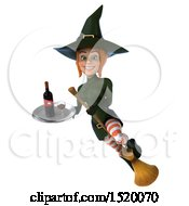 Clipart Of A 3d Sexy Green Witch Holding Wine On A White Background Royalty Free Illustration