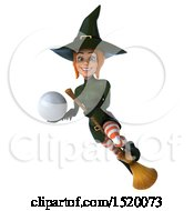 Clipart Of A 3d Sexy Green Witch Holding A Golf Ball On A White Background Royalty Free Illustration
