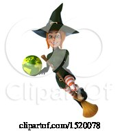 Clipart Of A 3d Sexy Green Witch Holding A Globe On A White Background Royalty Free Illustration