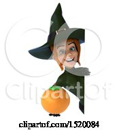 Clipart Of A 3d Sexy Green Witch Holding An Orange On A White Background Royalty Free Illustration