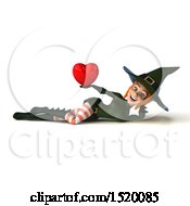 Clipart Of A 3d Sexy Green Witch Holding A Heart On A White Background Royalty Free Illustration