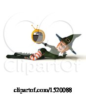 Clipart Of A 3d Sexy Green Witch Holding A Tv On A White Background Royalty Free Illustration
