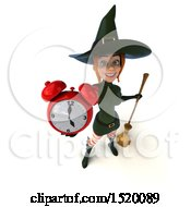 Clipart Of A 3d Sexy Green Witch Holding An Alarm Clock On A White Background Royalty Free Illustration