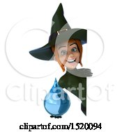 Clipart Of A 3d Sexy Green Witch Holding A Water Drop On A White Background Royalty Free Illustration