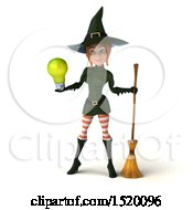Clipart Of A 3d Sexy Green Witch Holding A Light Bulb On A White Background Royalty Free Illustration by Julos
