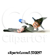 Clipart Of A 3d Sexy Green Witch Holding A Pill On A White Background Royalty Free Illustration by Julos