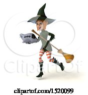 Clipart Of A 3d Sexy Green Witch Holding A Plane On A White Background Royalty Free Illustration by Julos