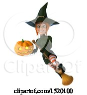Clipart Of A 3d Sexy Green Witch Holding A Jackolantern On A White Background Royalty Free Illustration by Julos