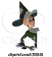 Clipart Of A 3d Sexy Green Witch Holding A Wrench On A White Background Royalty Free Illustration by Julos