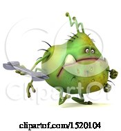 Clipart Of A 3d Green Germ Monster Holding A Wrench On A White Background Royalty Free Illustration
