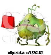 Clipart Of A 3d Green Germ Monster Holding A Shopping Bag On A White Background Royalty Free Illustration