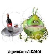 Clipart Of A 3d Green Germ Monster Holding A Wine Tray On A White Background Royalty Free Illustration