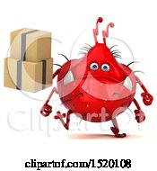 Clipart Of A 3d Red Germ Monster Holding Boxes On A White Background Royalty Free Illustration