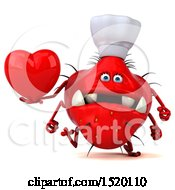 Clipart Of A 3d Red Germ Monster Holding A Heart On A White Background Royalty Free Illustration