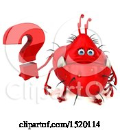Clipart Of A 3d Red Germ Monster Holding A Question Mark On A White Background Royalty Free Illustration
