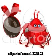 Clipart Of A 3d Red Germ Monster Holding A Chocolate Egg On A White Background Royalty Free Illustration