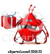 Clipart Of A 3d Red Germ Monster Holding A Gift On A White Background Royalty Free Illustration
