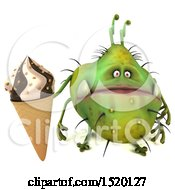 Clipart Of A 3d Green Germ Monster Holding An Ice Cream Cone On A White Background Royalty Free Illustration