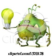 Clipart Of A 3d Green Germ Monster Holding A Light Bulb On A White Background Royalty Free Illustration