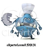 Clipart Of A 3d Blue Germ Monster Holding A Euro On A White Background Royalty Free Illustration