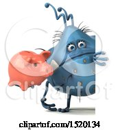 Clipart Of A 3d Blue Germ Monster Holding A Piggy Bank On A White Background Royalty Free Illustration