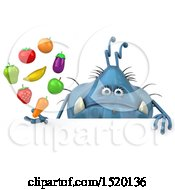 Clipart Of A 3d Blue Germ Monster Holding Produce On A White Background Royalty Free Illustration