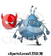 Clipart Of A 3d Blue Germ Monster Holding A Devil On A White Background Royalty Free Illustration