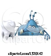 Clipart Of A 3d Blue Germ Monster Holding A Tooth On A White Background Royalty Free Illustration