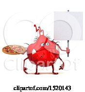 Clipart Of A 3d Red Germ Monster Holding A Pizza On A White Background Royalty Free Illustration
