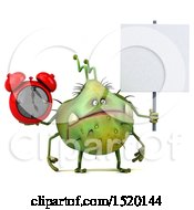 Clipart Of A 3d Green Germ Monster Holding An Alarm Clock On A White Background Royalty Free Illustration