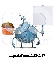 Clipart Of A 3d Blue Germ Monster Holding A Cupcake On A White Background Royalty Free Illustration