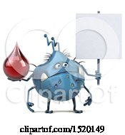 Clipart Of A 3d Blue Germ Monster Holding A Blood Drop On A White Background Royalty Free Illustration