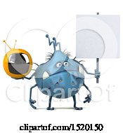 Clipart Of A 3d Blue Germ Monster Holding A Tv On A White Background Royalty Free Illustration