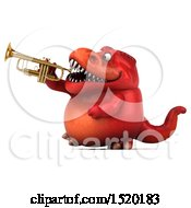 3d Red T Rex Dinosaur Playing A Trumpet On A White Background