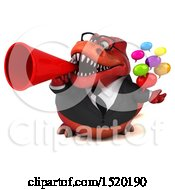 Clipart Of A 3d Red Business T Rex Dinosaur Holding Messages On A White Background Royalty Free Illustration