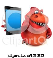 Clipart Of A 3d Red T Rex Dinosaur Holding A Cell Phone On A White Background Royalty Free Illustration