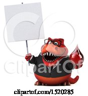 Clipart Of A 3d Red Business T Rex Dinosaur Holding A Blood Drop On A White Background Royalty Free Illustration