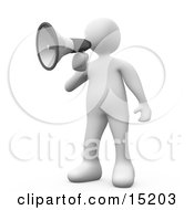 White Person Making An Announcement And Using A Bullhorn Megaphone Clipart Illustration Image