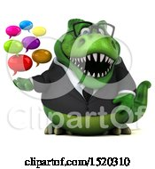 Clipart Of A 3d Green Business T Rex Dinosaur Holding Messages On A White Background Royalty Free Illustration