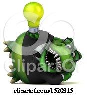 3d Green Business T Rex Dinosaur Holding A Light Bulb On A White Background